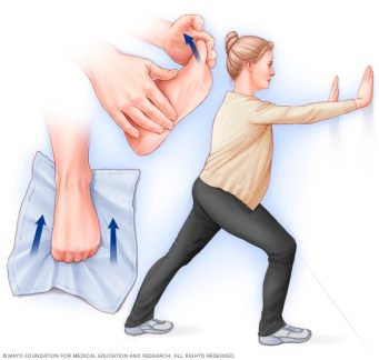 Illustration showing calf and foot exercises to prevent heel pain