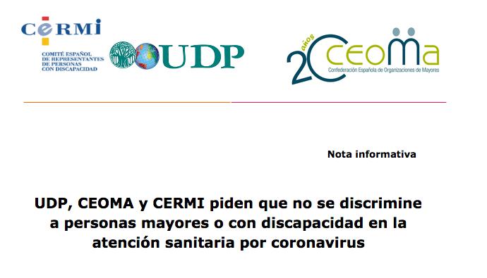 UDP, CEOMA y CERMI piden que no se discrimine a personas mayores o con discapacidad en la atención sanitaria por coronavirus