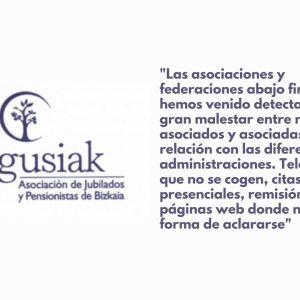 Las Asociaciones y federaciones de mayores del País Vasco, expresan su malestar con la falta de atención por parte de las Administraciones