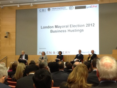 Mayoral hopefuls woo London's business community