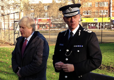 Mayor Boris Johnson and Sir Bernard Hogan-Howe.