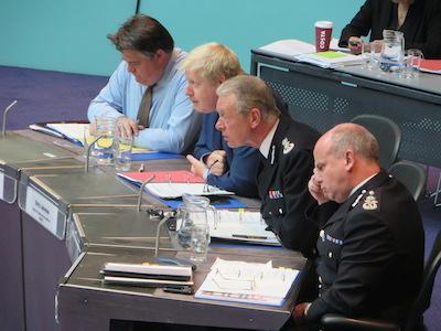 L-R: Stephen Greenhalgh, Boris Johnson, Sir Bernard Hogan-Howe & Deputy Commissioner Craig Mackey.