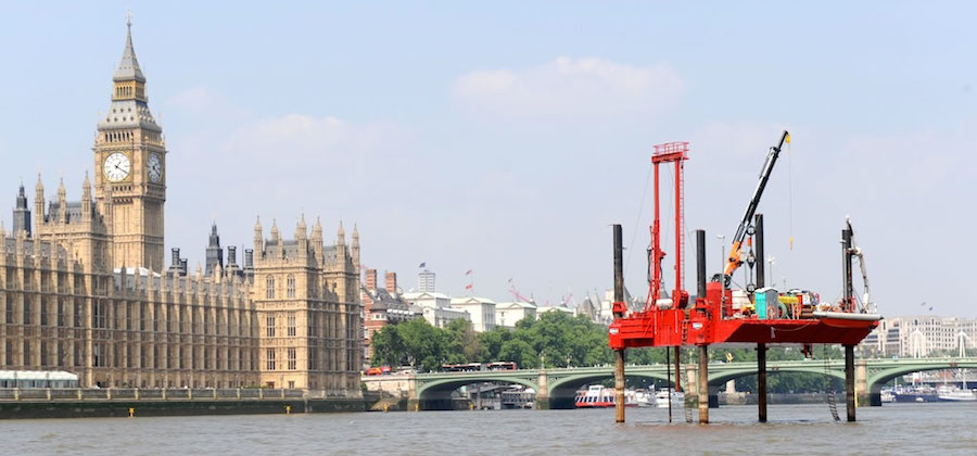 Exploratory works for the tunnel outside the Palace of Westminster. Image: Thames Water