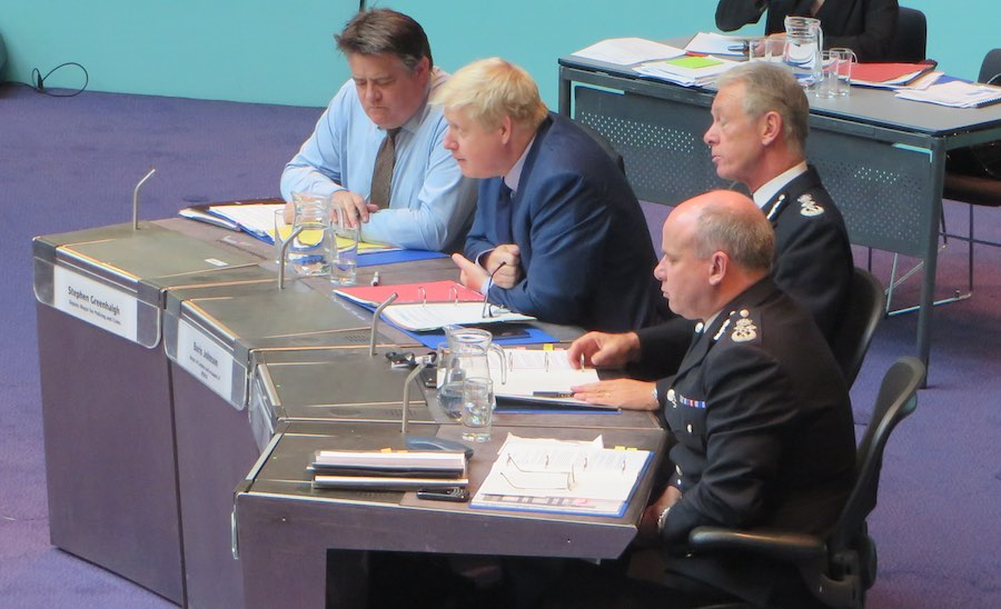 Mr Greenhalgh with Boris Johnson, Met Commissioner Sir Bernard Hogan-Howe and deputy Commissioner Craig Mackey