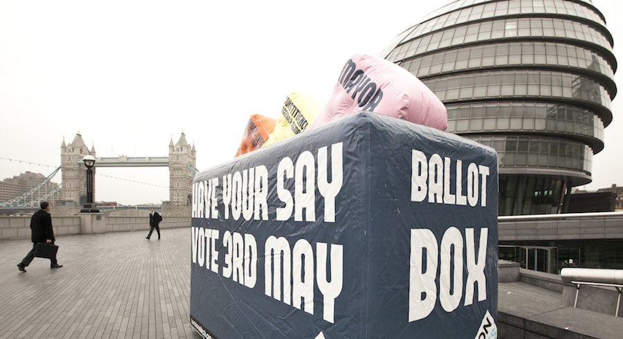 A voter awareness campaign for the 2012 Mayoral elections. Image: London Elects / Photo Andrew Baker