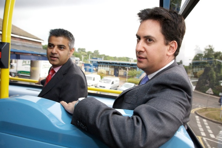 Khan with former Labour leader Ed Miliband, Image:  Zoe Norfolk / Department of Energy and Climate Change