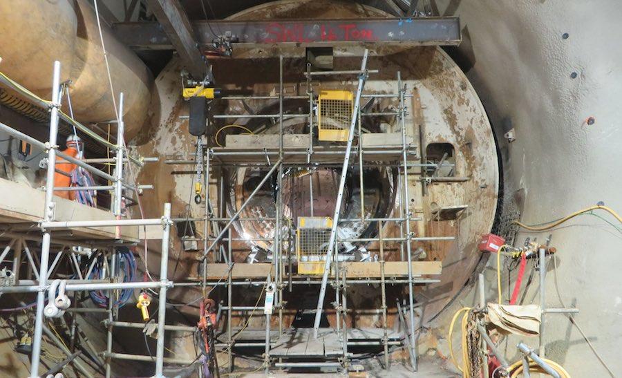 A Crossrail tunnel boring machine being dismantled beneath Farringdon