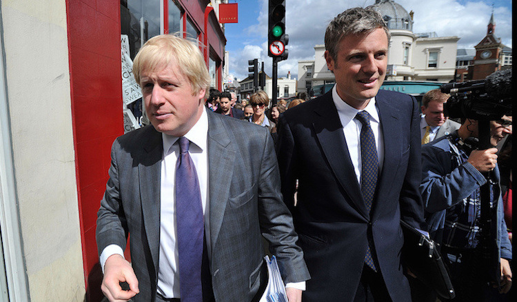 Goldsmith with outgoing Mayor Boris Johnson.