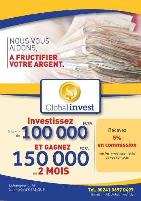 Une affiche publicitaire de Global Invest Gabon
