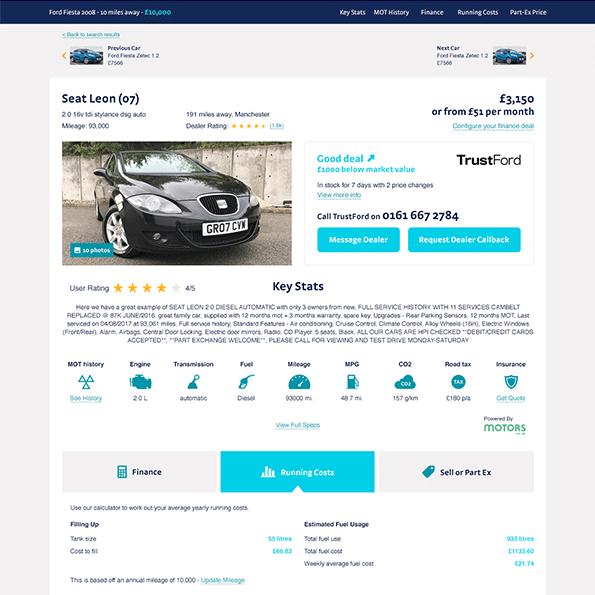 Regit used car page design 1