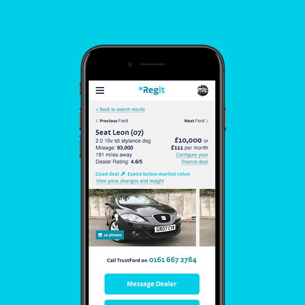 Regit used car page design mobile