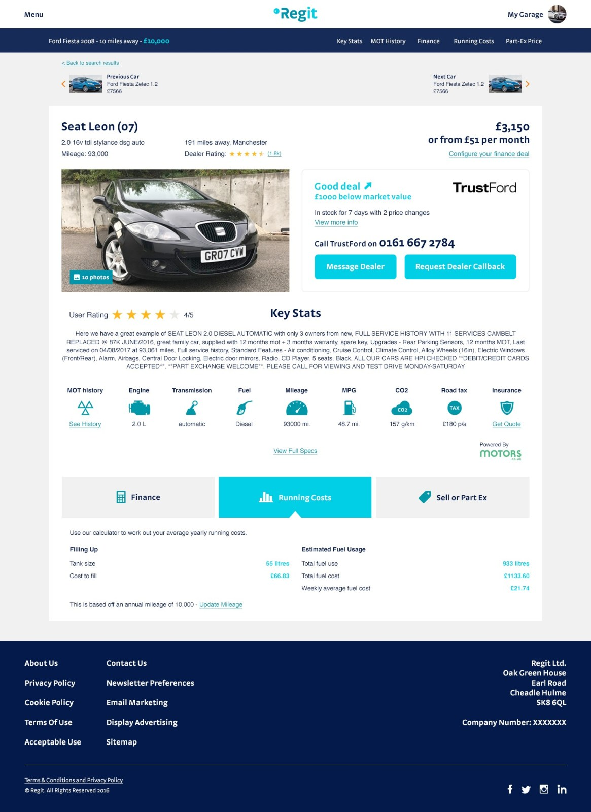 Regit used car page design
