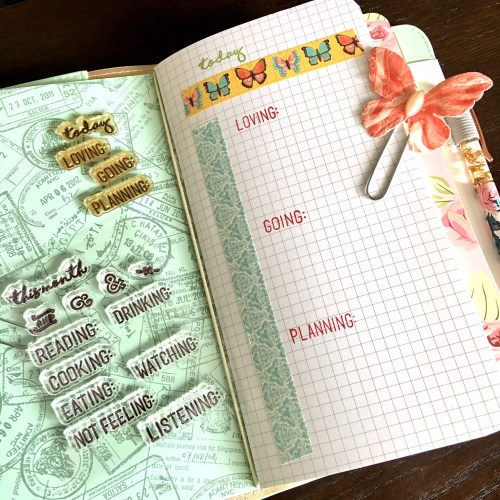 Webster's Pages Traveler's Notebook decorated with The Ink Road My Details stamp set