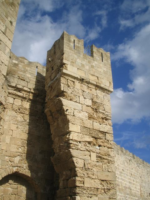 The crumbling Naillac Gate in Rhodes, Greece