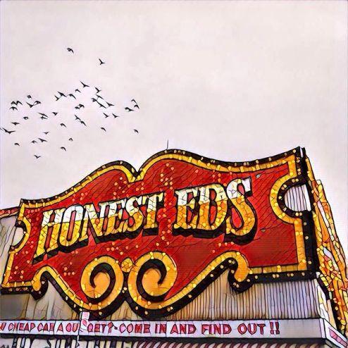 Honest Ed's signage in Toronto, Canada