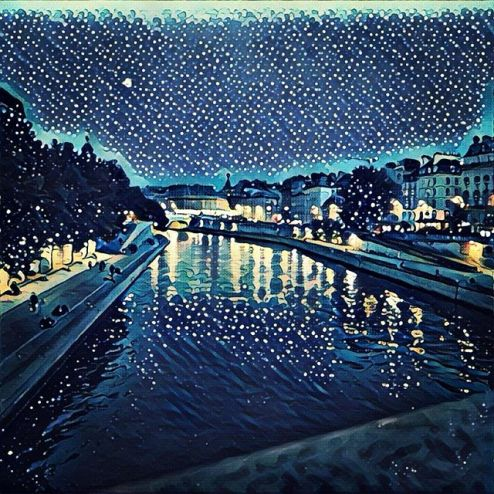 Starry night Prisma filter, Quai des orfevres, Paris france at night