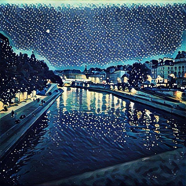 Starry night Prisma filter, Quai des orfevres, Paris france at night
