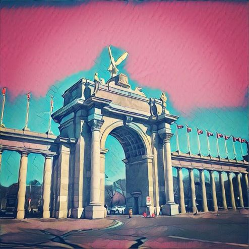 Prisma filter of the Princes' Gate, CNE Toronto Canada, archway architecture