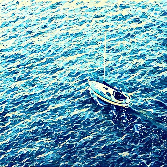 This photo of a sailboat in Vigo, Spain looks desolate and dangerous, but don't be fooled - it was taken from the luxurious vantage point of the top deck of a cruise ship, safely docked in the harbour. Prisma's wonderful The Wave filter makes the waves look like whitecaps. #vigo #spain #españa #blue #boat #waves #prisma #filter #ocean #ship #wave #cruise #igers #igers #igtravel #travel #travelgram #traveling #travelling #travellife #instaartist #instagood #instagram #spanish #photography #photographer
