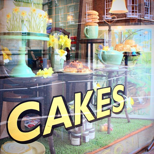 Trying to eat better, so naturally I'm having a craving for about 50 kinds of cake tonight. This was a beautifully styled tearoom shop window in Cambridge, England. #cake #cakes #signs #sign #cambridge #england #british #ig_captures #ig_global_life #travelling #igers #travel #traveling #baking #foodporn #food #tearoom #english #pastel #instagood #instagram #instacute #insta