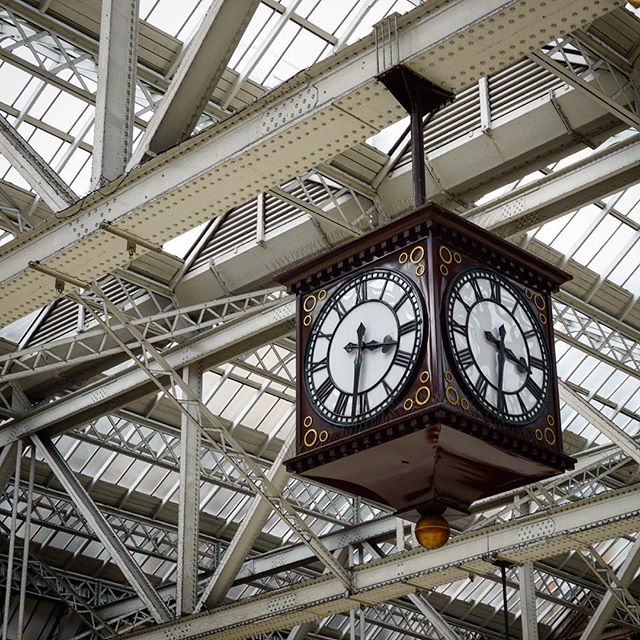 Old fashioned railway clock in Glasgow's Central Station