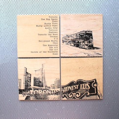Toronto nicknames, TTC streetcar, City Hall and Honest Ed's coasters,, fashion pins, wood brooch, pinback accessories, toronto street signs, handmade art pin, etsy seller, wood coin pins, toronto the good,