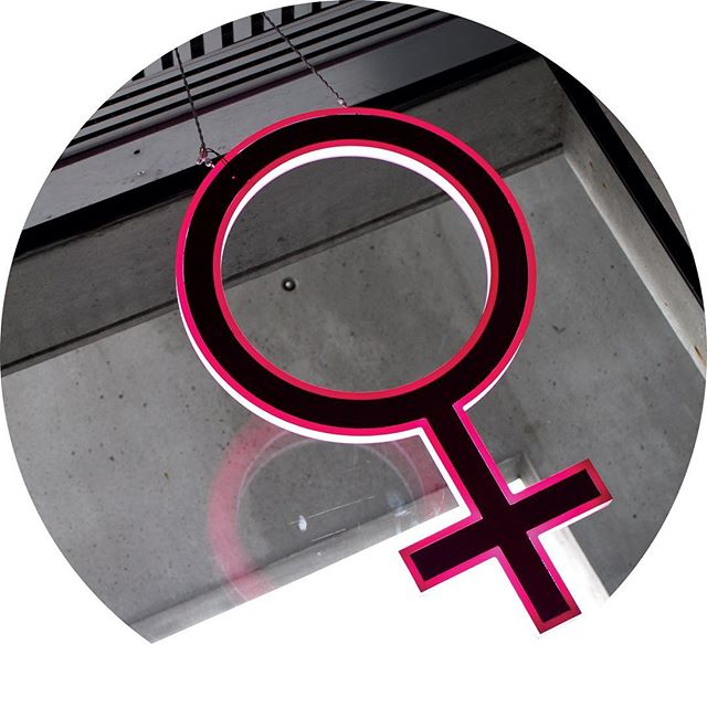 Pink woman symbol in Reykjavik's town hall, Iceland