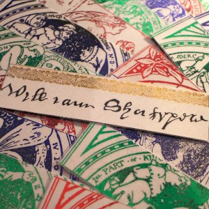 shakespeare bookmarks, foil art projects, handmade artwork, buy bookmarks online, william shakespeare plays, gifts for teachers, teacher gift ideas, hamlet, romeo and juliet, othello, midsummer night's dream, merchant of venice, cymbeline, king lear, henry v, winter's tale, shakespeare autograph,