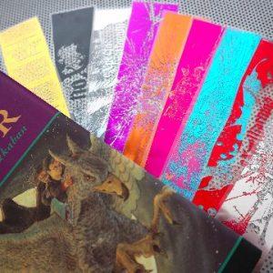 Harry Potter Magic Spells - set of 9 handmade clear bookmarks in various colors of metal foil. Great nerd or geek gift!