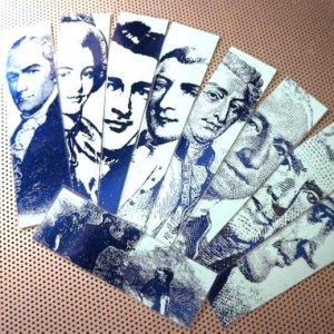 Alexander Hamilton / Cast of Characters / set of nine handmade historical bookmarks / shiny blue metallic foil highlight cardstock laminated