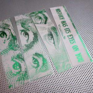 Alexander Hamilton / History Has Its Eyes On You / set of four handmade bookmarks / green metallic foil green gray laminated