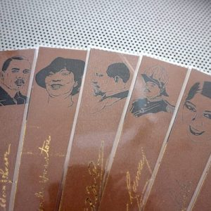 Harlem Renaissance bookmarks / set of nine handmade portraits writers poets activists jazz musicians / black brown gold metal foil quote
