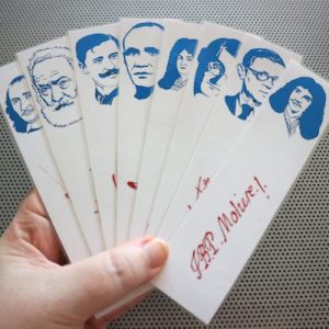 French Playwrights bookmarks set of 9 portraits great classical plays stage comedy drama blue and red bookmark Hugo Moliere Racine Corneille