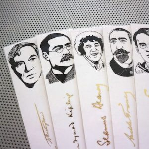 Nobel Literature laureates bookmarks set of 9 writers authors portraits poets book mark gold Neruda Eliot Bob Dylan Kipling Heaney Pasternak