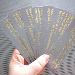 Funny lawyer quotes bookmarks / set of nine handmade jokes by writers quotes about the law justice judge book mark / gold metal foil on gray
