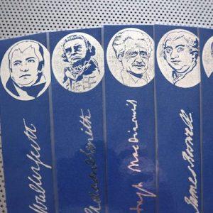 Great Scots! Writers / 9 bookmark set of Scottish handmade portraits / Scotland writers authors Auld Scotia novelists St Andrews blue books