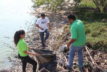Personal del Acuario Mazatlán realizaron jornada de limpieza en la laguna del camarón.
