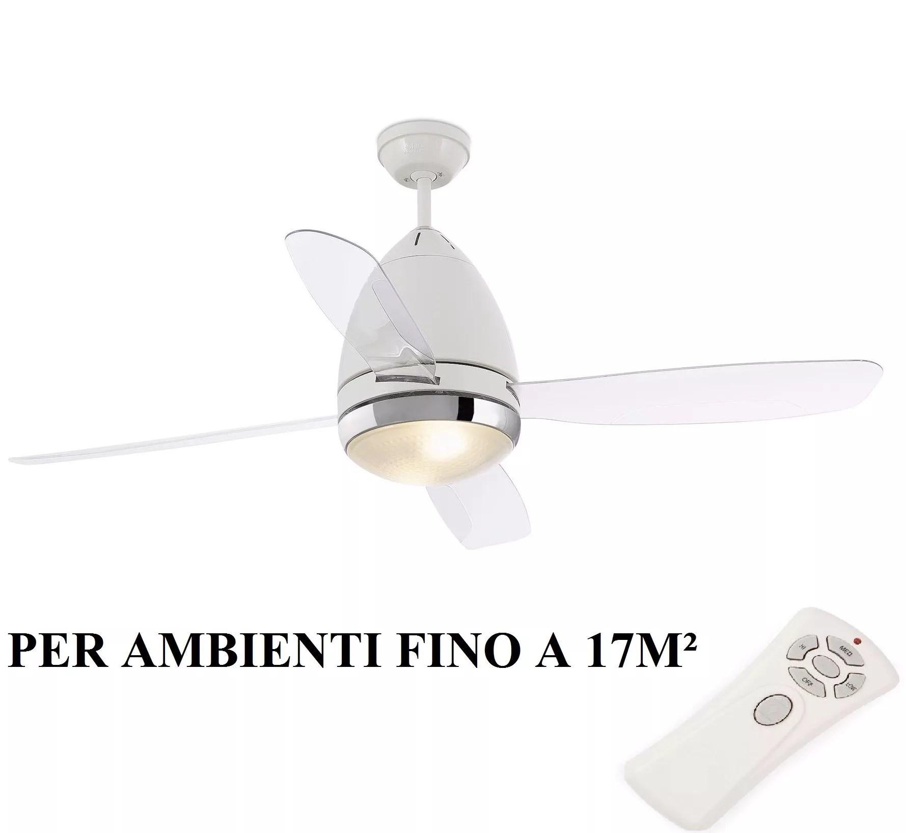 Ventilatore a soffitto 5 pale da parete con luce lampadario e telecomando vinco. Faro Faretto Ceiling Fan With Blades And Light 33389