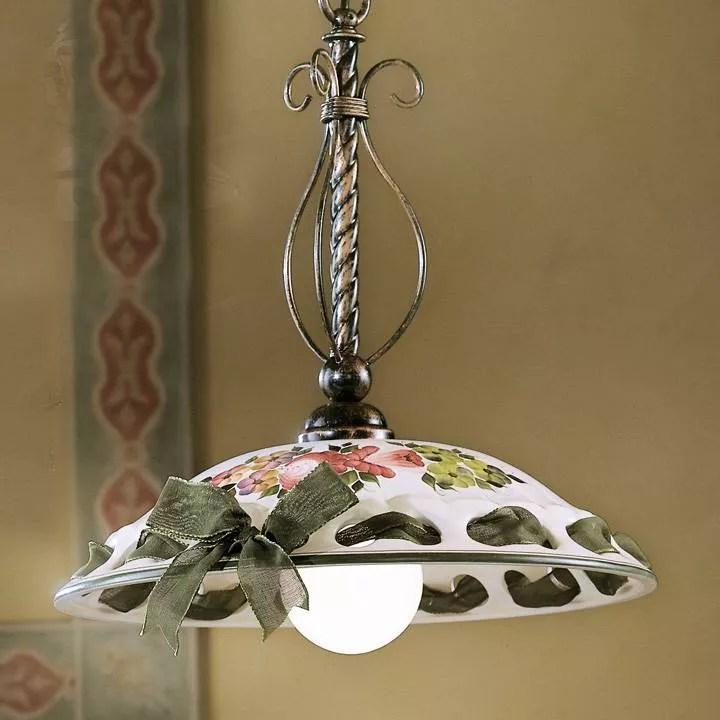 Questi lampadari a sospensione per cucina sono ideali. Lampadario Rustico Per Cucina Ceramica Artigianale Lucida Decorata C361sodecmrosso