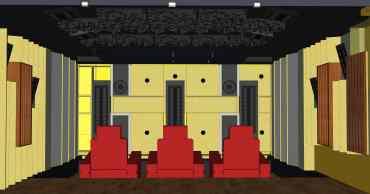 Frontwand mit vier Subwoofern im Entwurf   HAG Fairland Custom Reference