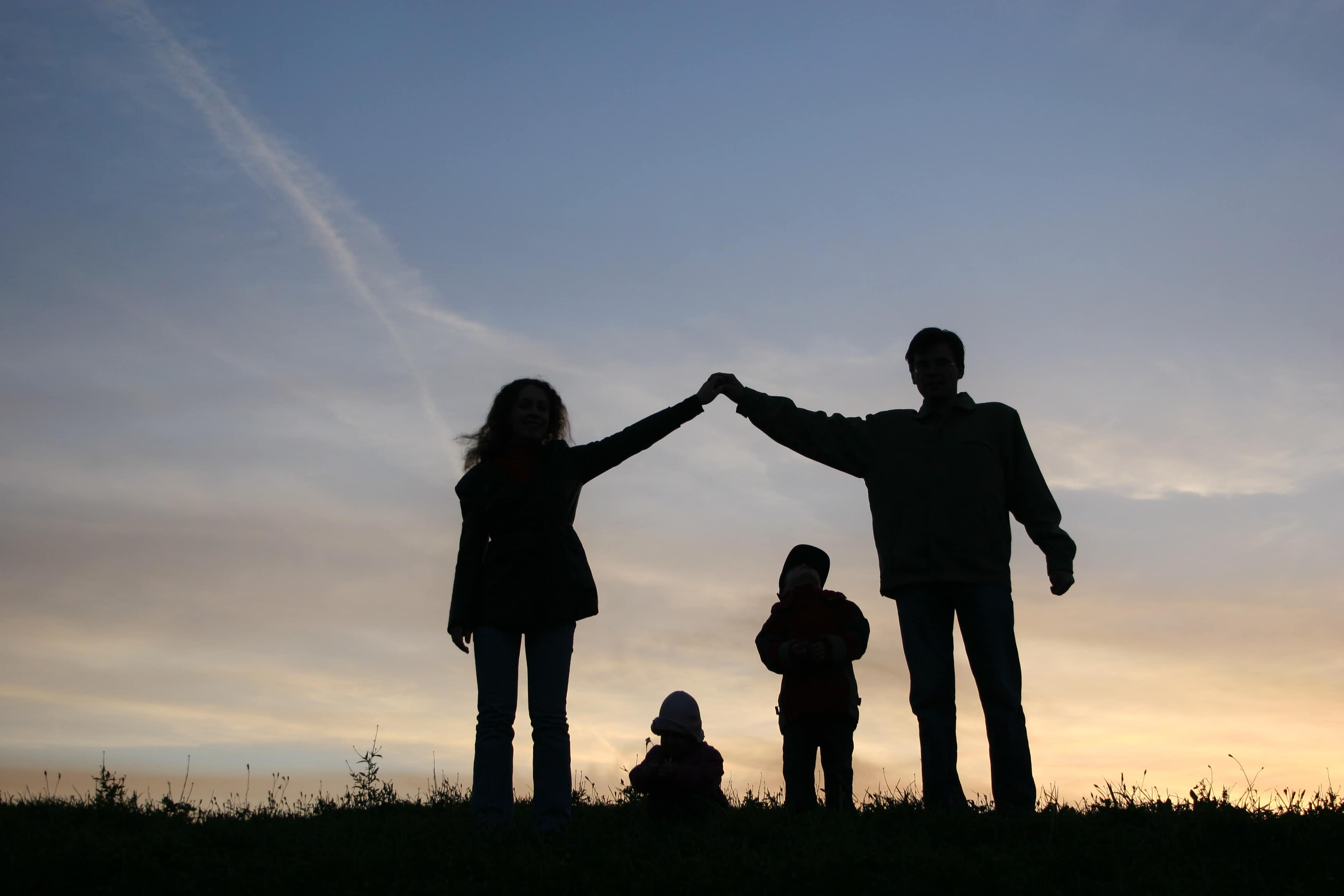 silhouette photo of family