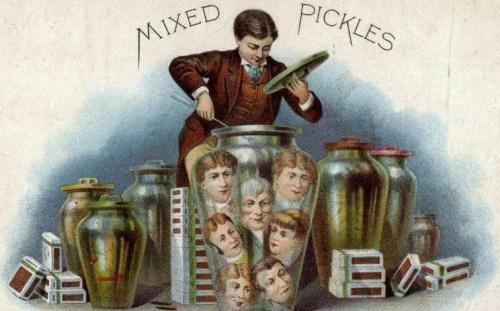 Mixed Pickles   VF 6    Vintage Cigar Box Advertising Label    #6445