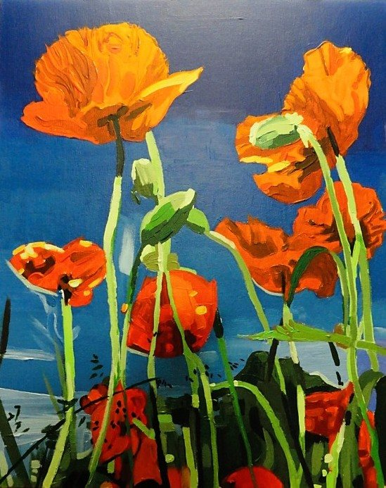 "John Davis, ""Poppies"", 14"" x 17"", acrylic on canvas board, 2011."