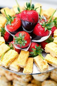 Chocolate Dipped Strawberries and Blondies | Catered by Made By Meg