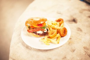 Burger, Fries, Onion Rings at Wedding at Big Daddy's Antiques   Made By Meg Catering