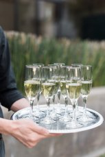 Champagne in Flutes at Malibu Rocky Oaks Wedding