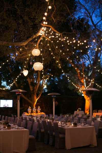 Outdoor Lights at Hummingbird Nest Ranch Wedding