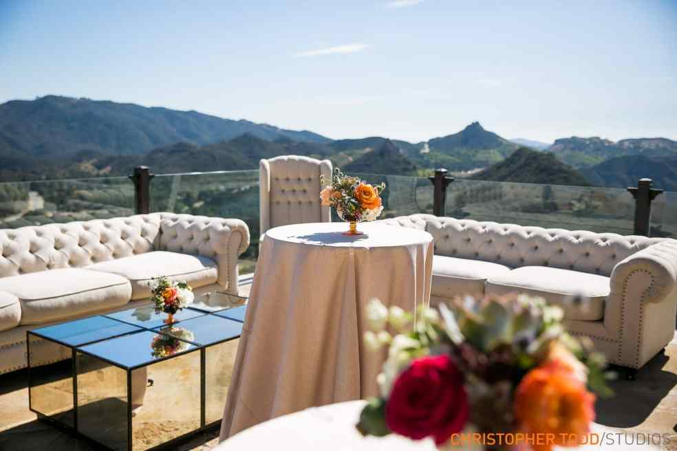 Outdoor Seating at Malibu Rocky Oaks Wedding | Catered by Made By Meg