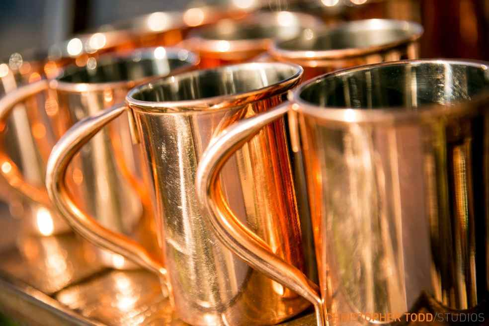 Copper Mugs at Malibu Rocky Oaks Wedding | Catered by Made By Meg