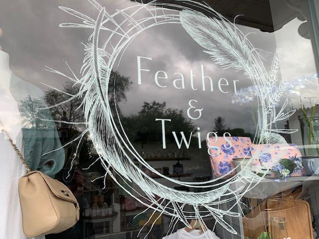 Vinyl Window Graphics Feather & Twigs